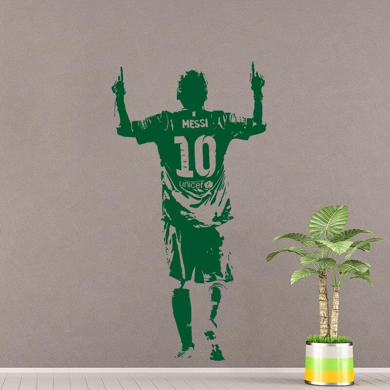 Nieuwe Ontwerp Lionel Messi Figuur Muursticker Vinyl DIY Home Decor Voetbal Ster Decals Voetbal Atleet Voor Kinderkamer 4