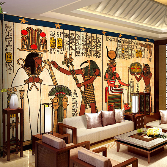 Compare prices on egyptian figures online shopping buy for Egyptian mural wallpaper