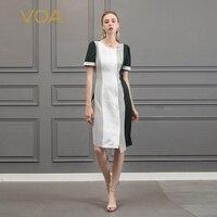 Voa шёлковый жаккардовое платье карандаш для офиса женские платья, вечерние летние шорты с длинными рукавами элегантное платье с асимметрич