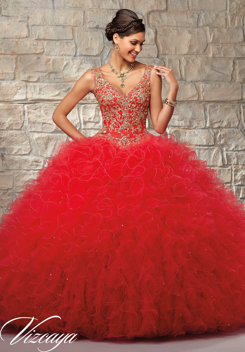 2017 Formal Prom Dresses for 15 Years Red Tulle with Gold
