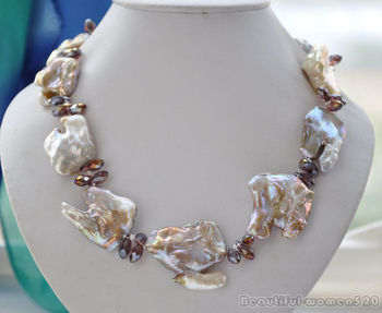 Z6006 40mm LAVENDER BAROQUE KESHI REBORN PEARL faceted crystal NECKLACE 20inch