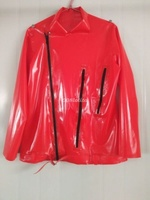 Latex Rubber Handsome Red Motorcycle Jacket Size XXS XXL