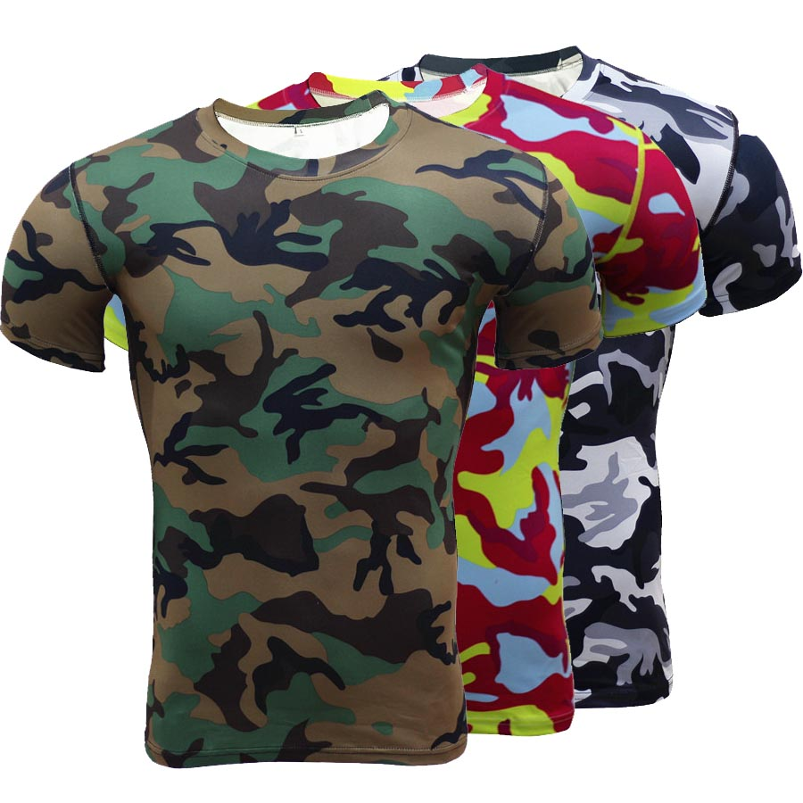 Fashion 3d print mens t shirts camouflage compression for Camouflage t shirt printing