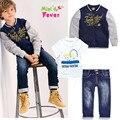 2015 new spring boys beautiful jeans wear clothes kids suits children boys jacket+T-shirt +denim pants 3pcs Clothing Set