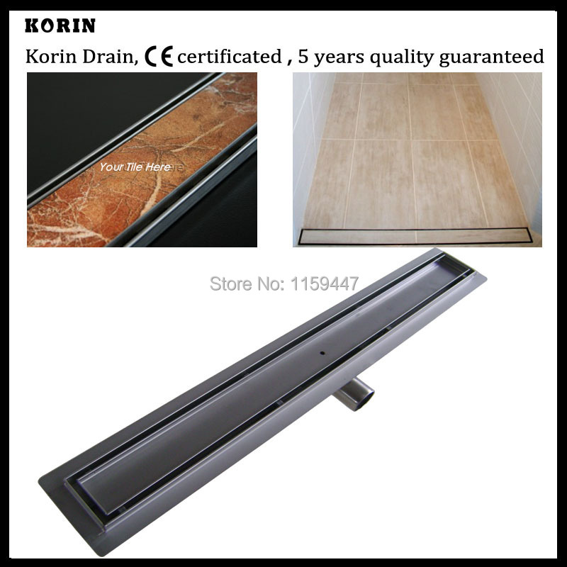600mm TILE INSERT Stainless Steel 304 Linear Shower Drain Horizontal Drain Floor Waste Tile Insert Deodorant