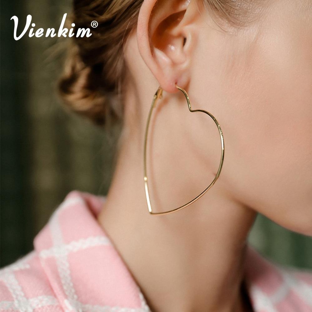 Vienkim Heart Hoop Earrings For Women Punk Big Love Earring Simple Hollow Metal Gold Silver Color Jewelry Femme Bjioux Jewellery