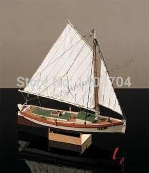 "SC 1:35 Laser-cut Wooden sailboat model kit: The ancient American Fishing boat ""Flattle"" model & Free 2pcs 11*7mm wooden Buckets"