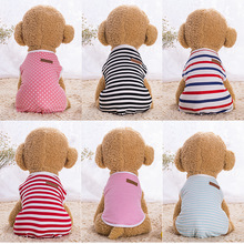 Cheap Pet Dogs and Cats Dog T Shirt Stripe Medium Clothes Cool Summer Vest Chihuahua Cat Clothing Shirts Motion XS-XXL