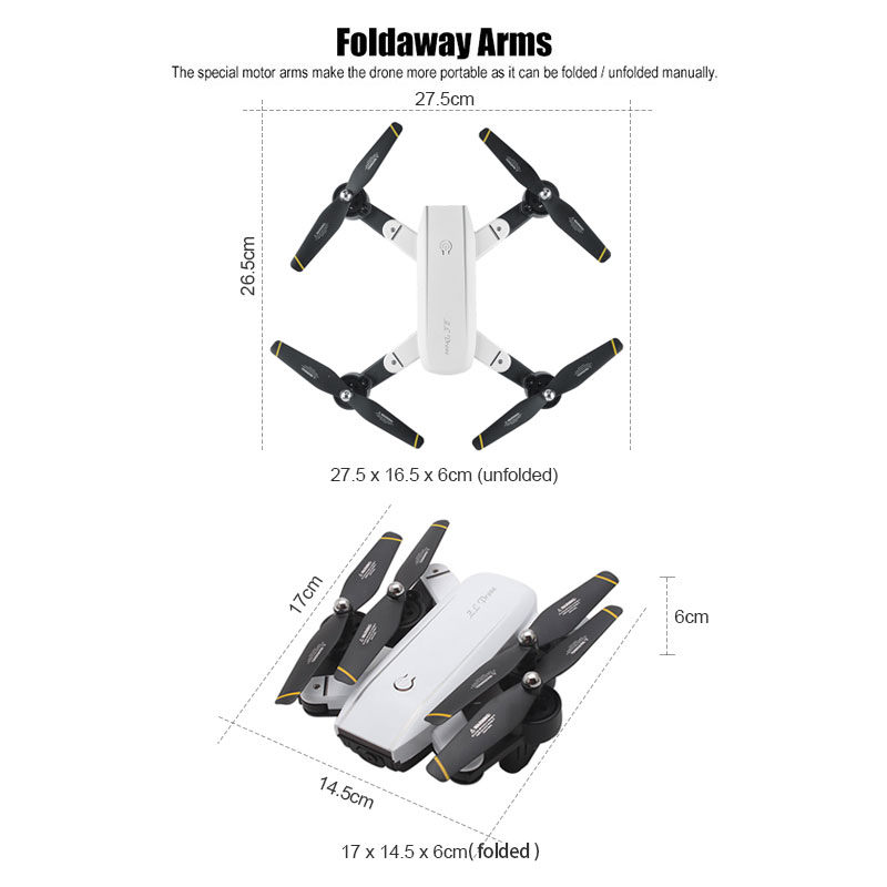 Wifi Foldable Selfie Drone w/ Altitude Hold & Headless Gesture Control 1