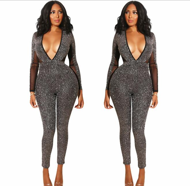 Gray Stones Long Sleeves Big V neck Backless Jumpsuit DS DJ Women Singer Dance Leggings Outfit Women's Party Celebrate Outfit