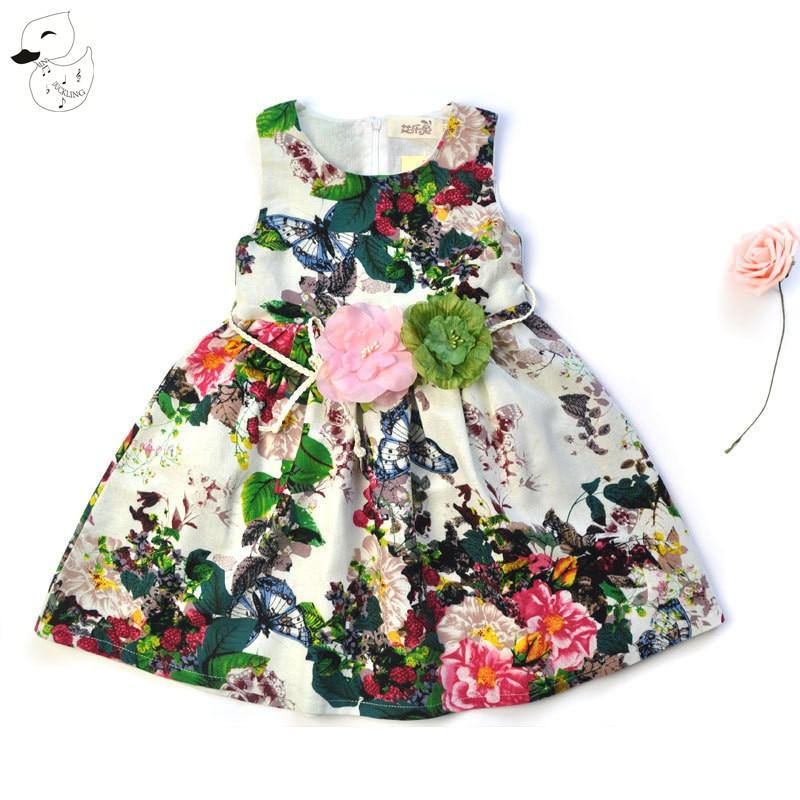 BINIDUCKLING Girls Dresses for Party Wedding 2017 Brand Summer Dress Princess Costume Flower Vestido Kids Linen Dress with Belt