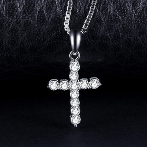 Image 2 - JPalace Cross CZ Silver Pendant Necklace 925 Sterling Silver Choker Statement Necklace Women Silver 925 Jewelry No Chain