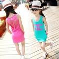 2016 summer new children's clothing chiffon dress child princess dress lace vest dress big virgin girls dance clothes 2-10 years