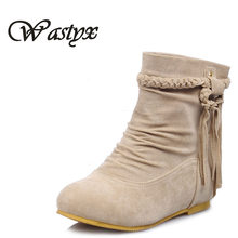 New Women boots winter warm shoes 2017 new Tassel Ankle boot low heel sapato feminino height increasing footwear big size 34-43
