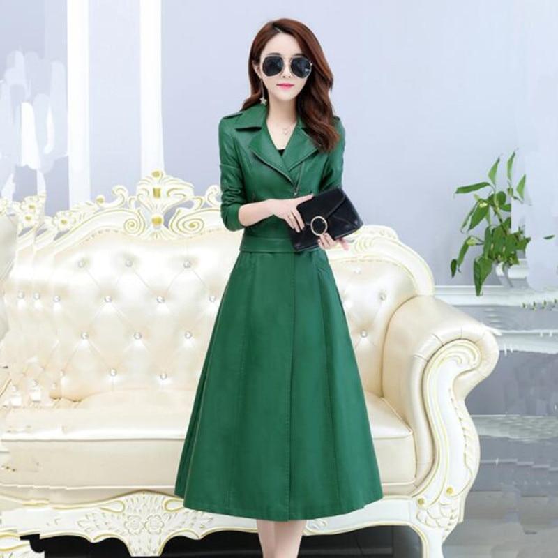 Deta Deux De G786 Coupe En Grande Taille vent Porter red Mode Slim Manteau Black Femme emerald Chable Hiver Tempérament Cuir Automne Longue 6aqwv