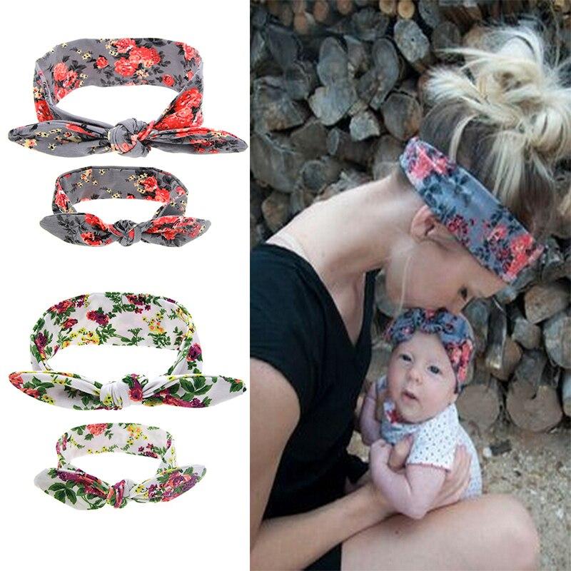 2Pcs//Set Mom and Me Boho Turban Headband Top Knotted Rabbit Ears Elastic Bowknot