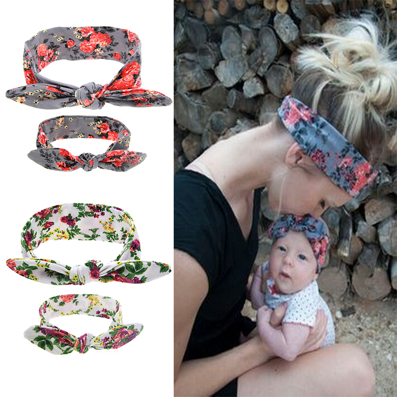 2Pcs/Set Mom and Me Boho Turban Headband Top Knotted Bunny Ears Elastic Bowknot Matching Headband Baby and Mommy Headwrap Gifts