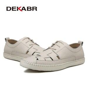 Image 3 - Мужские туфли оксфорды с вырезами DEKABR, бежевая повседневная классическая обувь из натуральной кожи, на шнуровке и плоской подошве, большие размеры 38 47, лето осень 2019