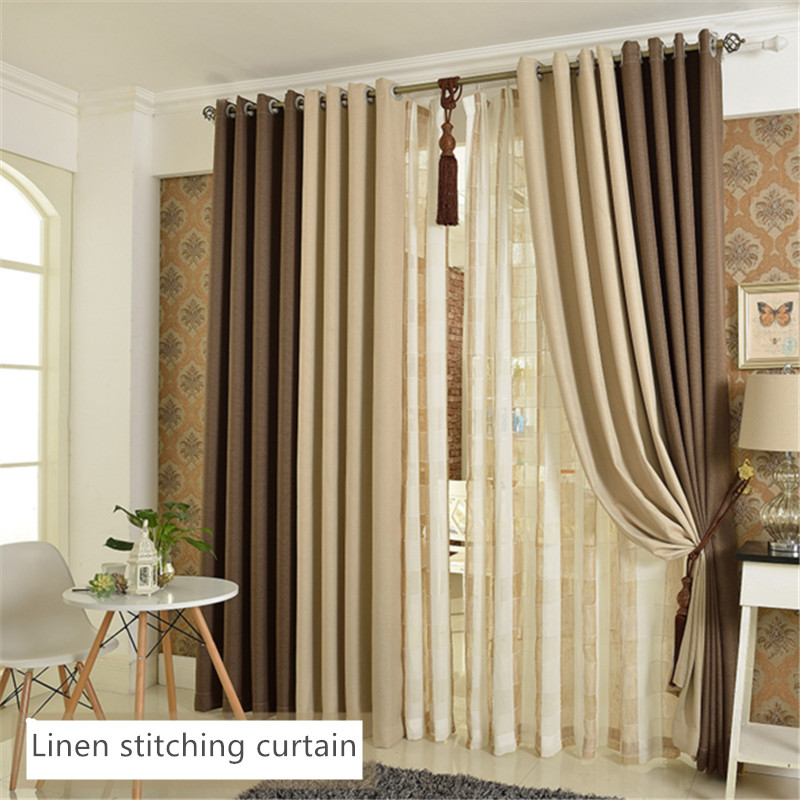 Buy high quality beige coffee stitching - Modelos cortinas salon ...