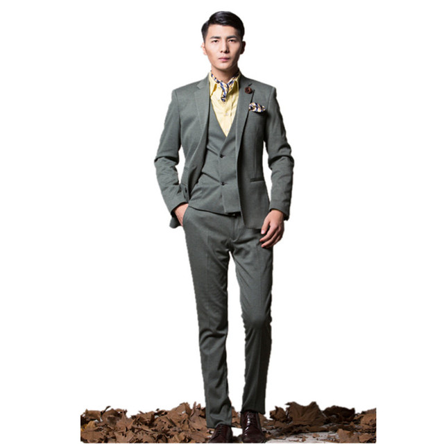 048f50e42171a 2016 newest men s tuxedo Notch Lapel High quality custom army green classic groom  wedding suits (jacket+pants+vest)