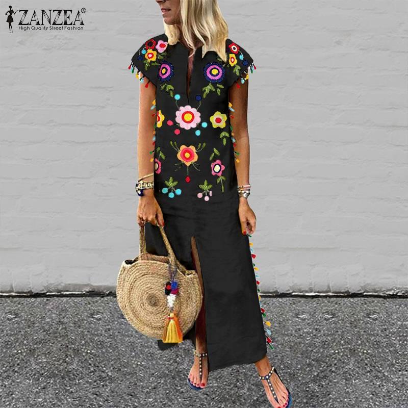 ZANZEA Plus Size Bohemian Floral Printed Sundress Women Summer Short Sleeve Split Hem Long Vestido Robe Casual Tassels Dress