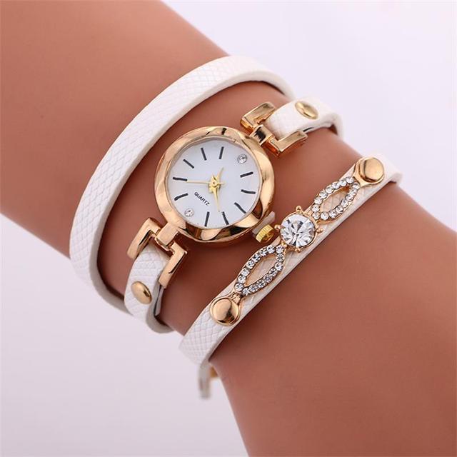 MINHIN Fashion Women Bracelet Watch Rhinestone Gold Quartz Gift Wristwatch Ladie