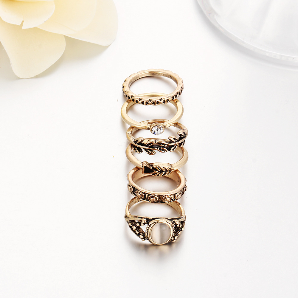 60 pieces/set Leaf Rings Sets Antique Gold Color Hollow Carved Crystal Opal Mid Midi Finger Ring Sets Women Jewelry Accessories