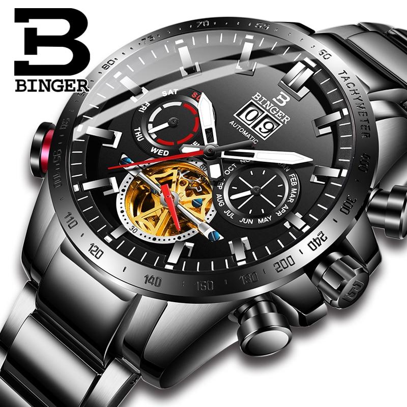 816ebda6c5c Homens Relógios de Luxo Da Marca suíça BINGER Homens Relógio Mecânico  Automático skeleton Homens Relógio de Safira relogio masculino B3-1