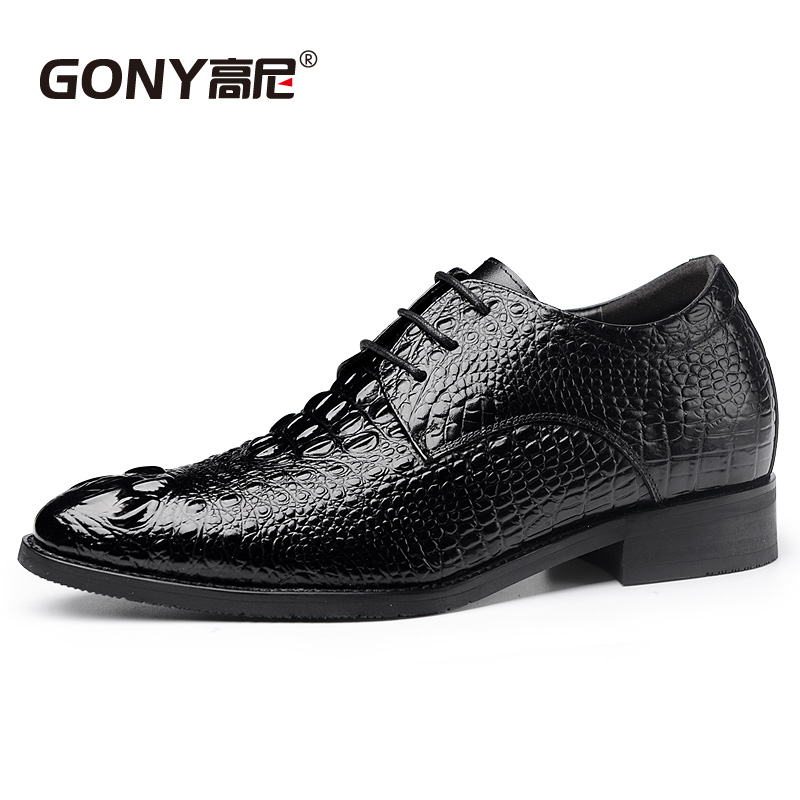 Fashion Black/Brown Fake Crocodile Calfskin Dress Business Tall Men Shoes with Hidden Inserts Height Increasing Elevator Shoes