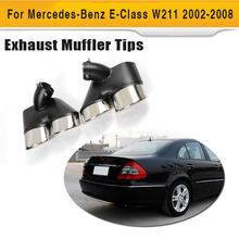 New Brand Stainlee Steel Exhaust Tips Back Muffler Ends Fit For Benz W211 2002-2008