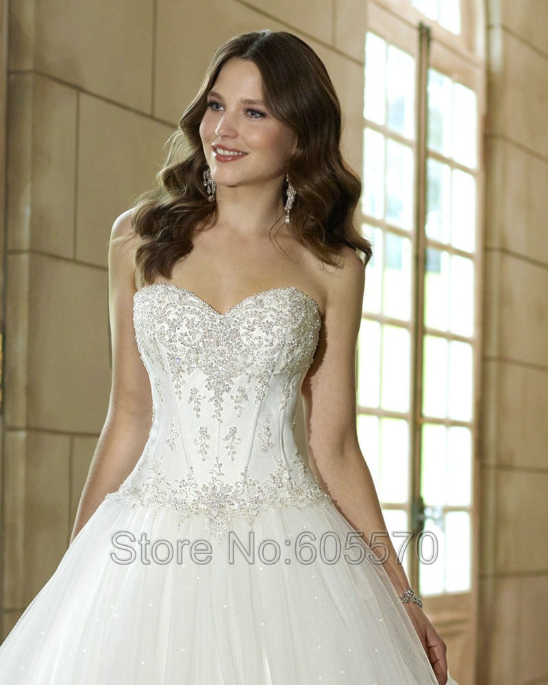 Sparkle Wedding Dresses Ball Gown Ivory Long Robe Mariage 2016 Corset Back Tulle Dress Lique Lace In From Weddings Events On