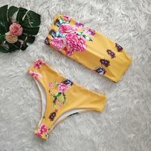 Floral Bikini Set Sexy Swimwear Women Biquini Off Shoulder Swimsuit Female Striped Bikini Padded Bathing Suit Maillot De Bain