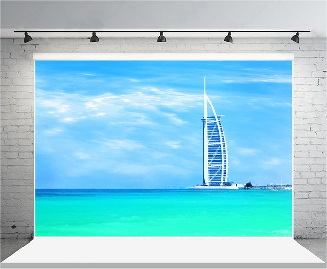 Laeacco Burj Al Arab Hotel Jumeirah Beach Photography Backdrops Vinyl Backdrop Custom Backgrounds For Photo Studio
