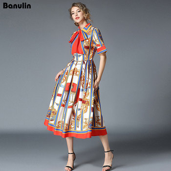 Banulin HIGH QUALITY 2020Newest Runway Designer Summer Dress Women's Short Sleeve Shirt Collar Stripe Printed Bow Midi Dress banulin summer runway designer bow neck pleated dress women lace patchwork floral print elegant holiday midi dress vestidos