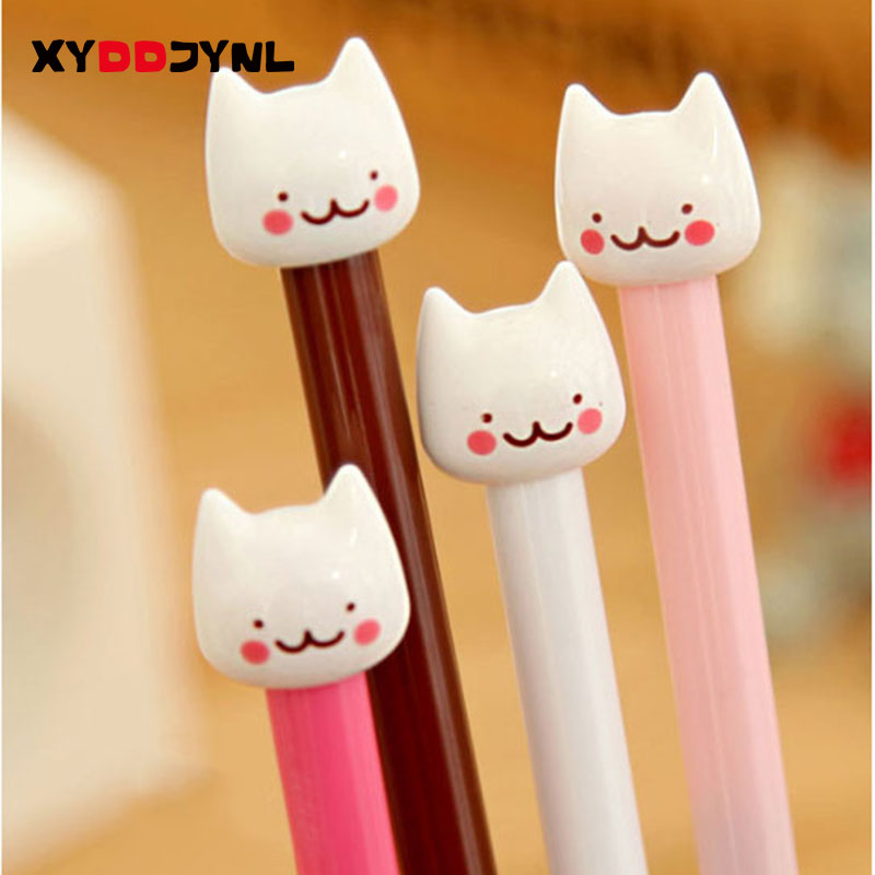 New Fashion Cute White Little Kitty Style Gel Ink Pen Signing Pen Office and School Pen for Kids Children Students Gift 4pcs