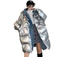 Vintage Snow Silver Coat Korean Loose Long Cotton Padded Winter Jacket Women Outerwear Thick Bread Clothes Plus Size Parka LA136