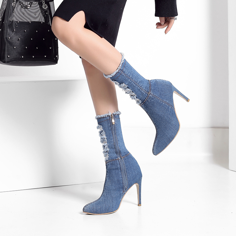 54151b41440 BENZELOR Autumn Winter Denim Jeans Women Shoes Woman Boots Mid calf ...
