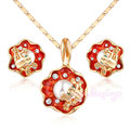 Mytys Fashion Yellow  Gold Plated Crystal Red Enamel Flower Pendant Necklace and Stud Earrings Jewelry Sets CN126