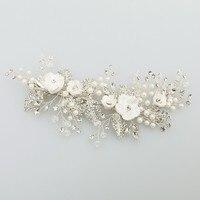 Charming Silver Rhinestone Hair Clip Pearls Bridal Hair Jewelry Wedding Accessories Comb Handmade Women Headwear G396