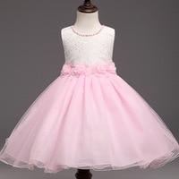 Wit en roze zomer bloemen jurk mode kant prinses mouwloze kinderkleding groothandel