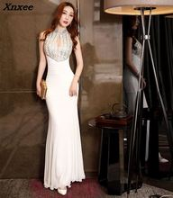 2018 New Elegant Summer Mermaid Dress Sexy Halter Maxi Women Evening Party Long Hollow Out Dresses Vestido De Festa Longo