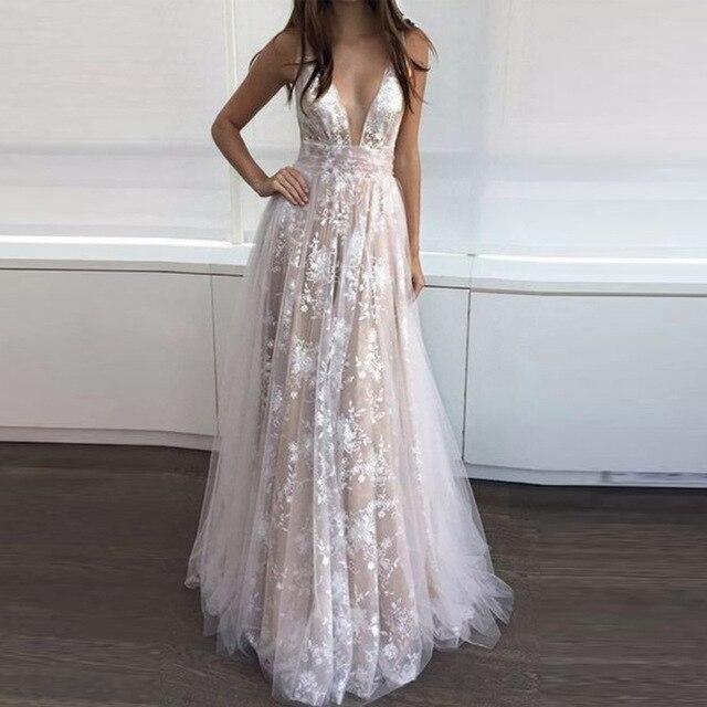 a9d90dc22e5 Deep V Neck Sleeveless Floor Length Party Dress Apricot Plus Size Floral  Hollow Out Lace Elegant Party Dresses Plus Size S-2XL