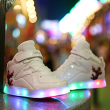 Charge Luminous LED Baby Sport Shoes High-Top Boys Winter Shoes Colorful Lights Fashion Baby Sneakers Chaussure Enfant