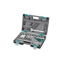 Набор инструментов STELS 14105 (82 предмета, хром-ванадиевая сталь и сталь S2, трещоточные ключи, торцевые головки, биты и др., противоударный пластиковый кейс)