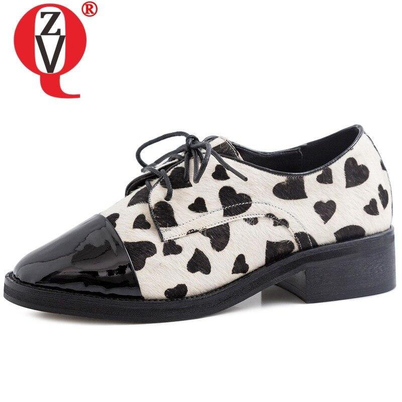 ZVQ cheval cheveux richelieu chaussures motif coeur point beige noir oxford chaussures printemps femme appartements 3.5cm femme chaussures livraison directe