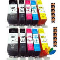 2 set di cartucce d'inchiostro della stampante compatibile per canon pixma mg5150 mg6150 mg5250 mg5350 525/526