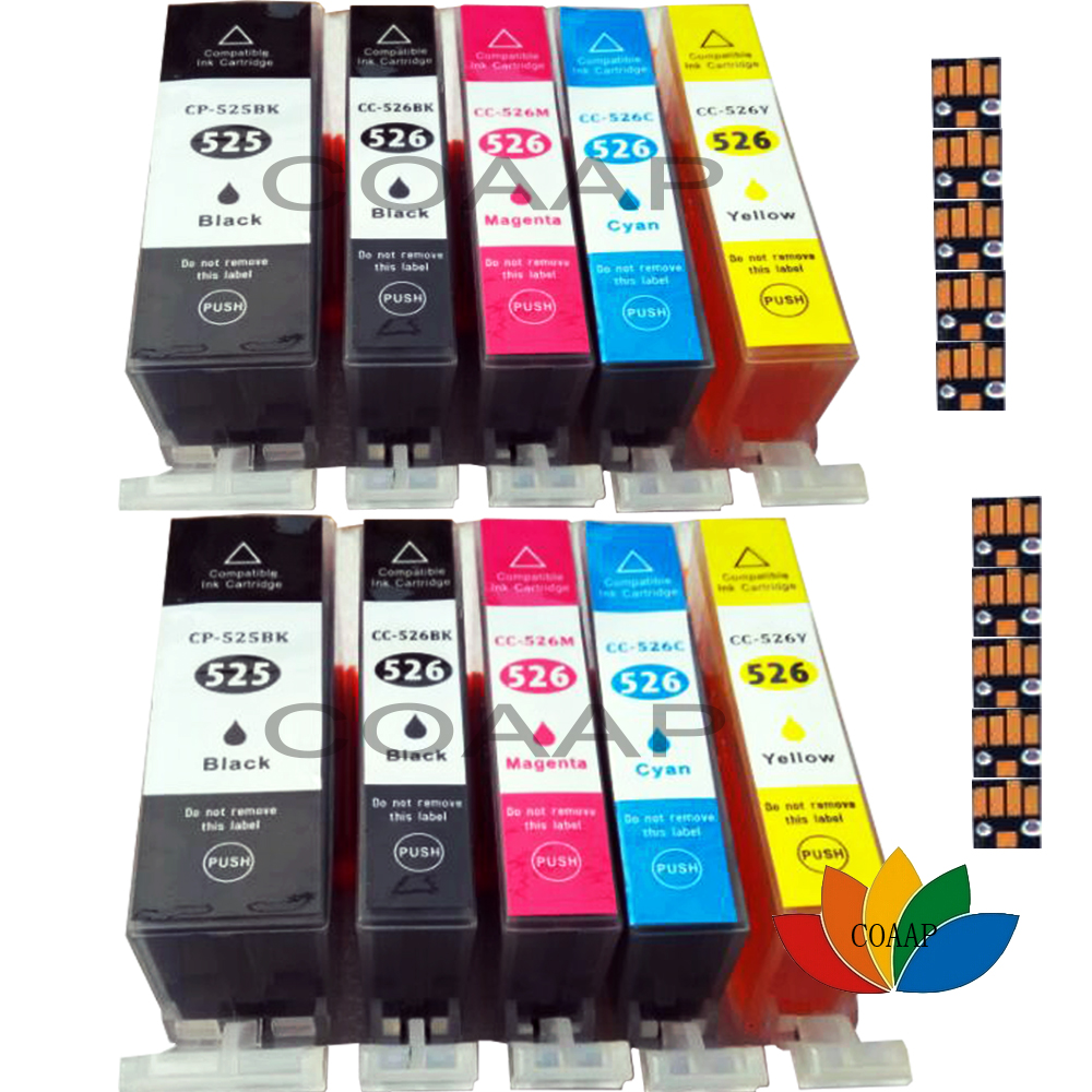 2 Sets of Compatible Printer Ink Cartridges for Canon Pixma MG6150 MG5150 MG5250 MG5350 525/526