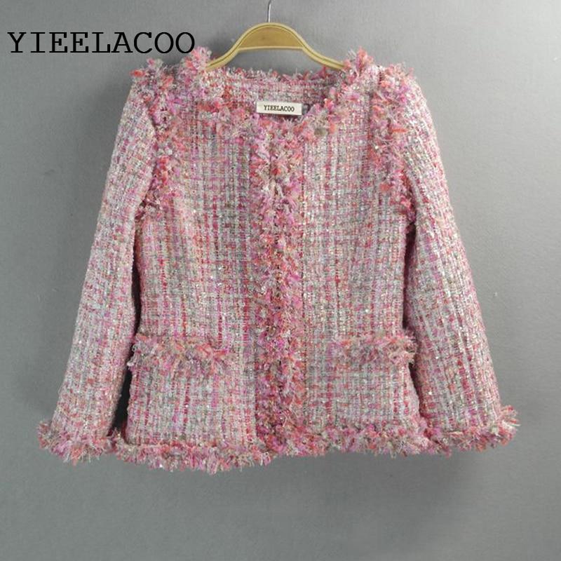 Pink sequined tweed jacket custom 2017 autumn / winter women's woolen jacket Slim new ladies short coat-in Jackets from Women's Clothing    1