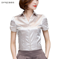 DFRCAEG Blusa Feminina 2017 Summer Fashion Short Sleeve Chiffon Blouse Ladies Office Shirts Slim Shirt Women