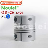Noulei D26mmXL26mm Inner 6 35X8mm Flexible Couplings Aluminium CNC Stepper Motor Flexible Shaft Coupler 6 35